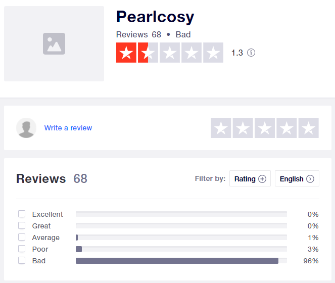 pearlcosy scam trustpilot rating
