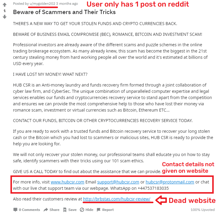 hubcsr scam fake review reddit