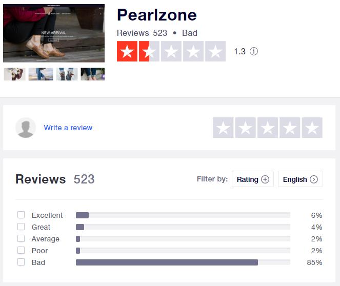 pearlzone scam trustpilot rating