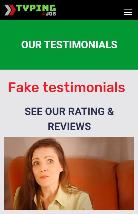 easy typing job scam fake testimonials