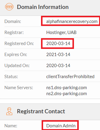 alpha finance recovery scam whois