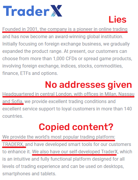 traderx scam fake about us