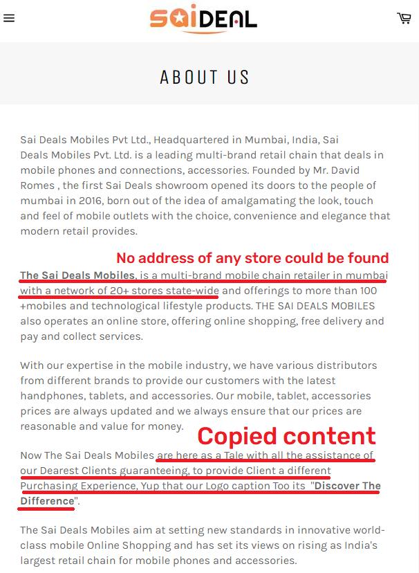saidealsscam about us copied content