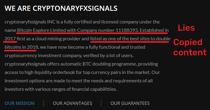 CryptonaryFxSignals scam fake content