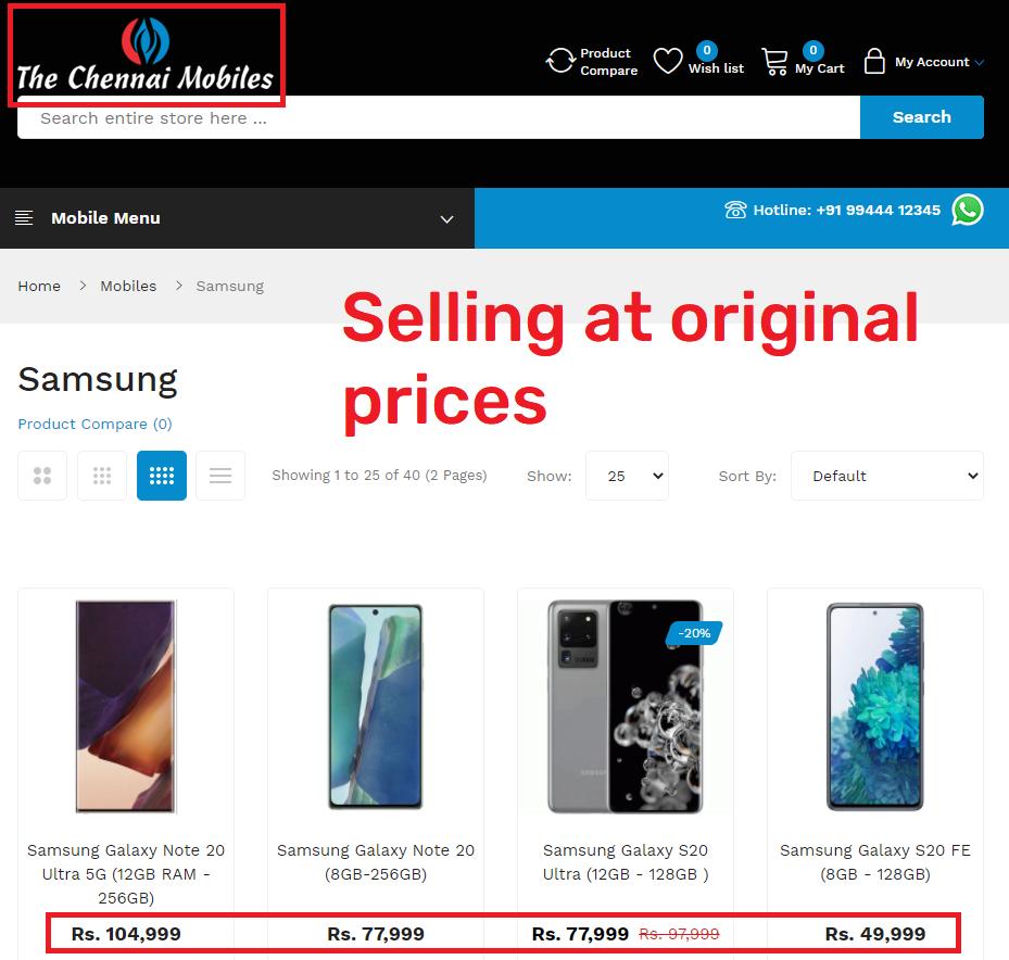 the chennai mobiles actual prices