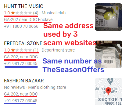 theseasonoffers scam fake address