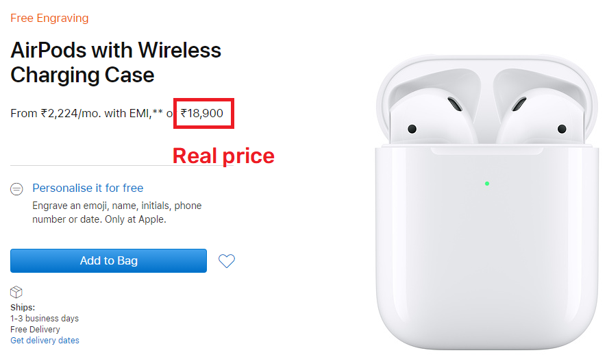 apple airpods 2 original price