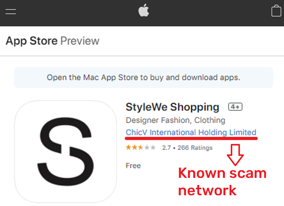 stylewe scam apple app store