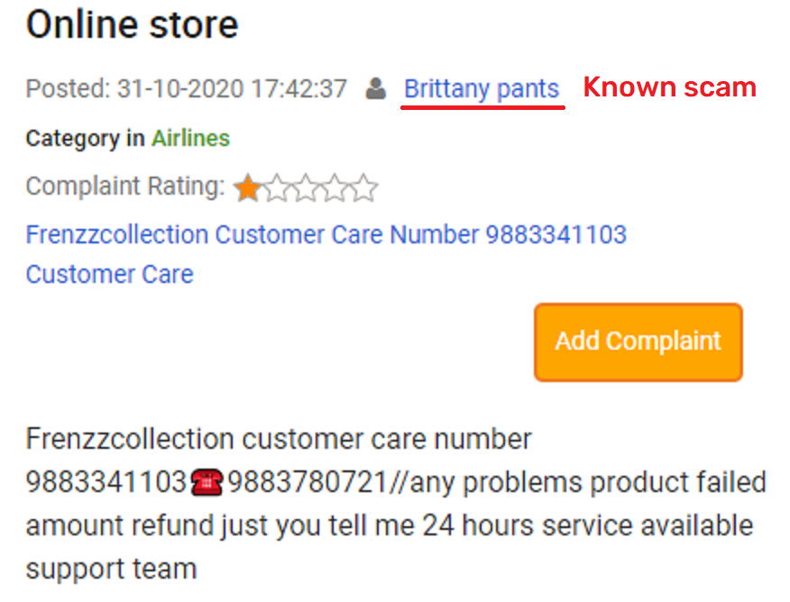 brittany pants fake customer care number