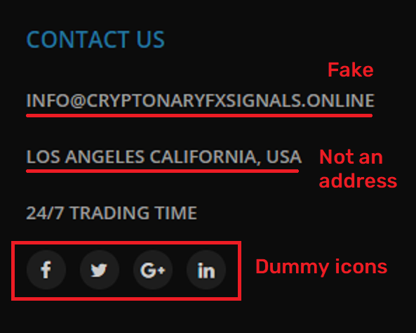 CryptonaryFxSignals fake contact details