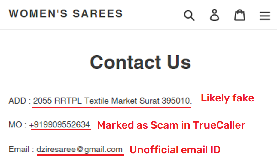 dzires saree scam fake contact details