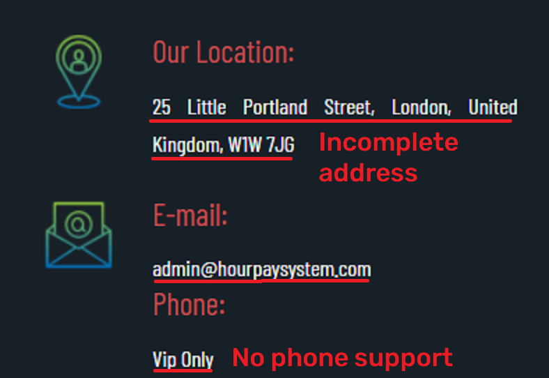 hour pay system scam fake contact details