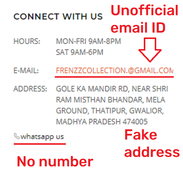 frenzzcollection soggycollection scam fake contact details