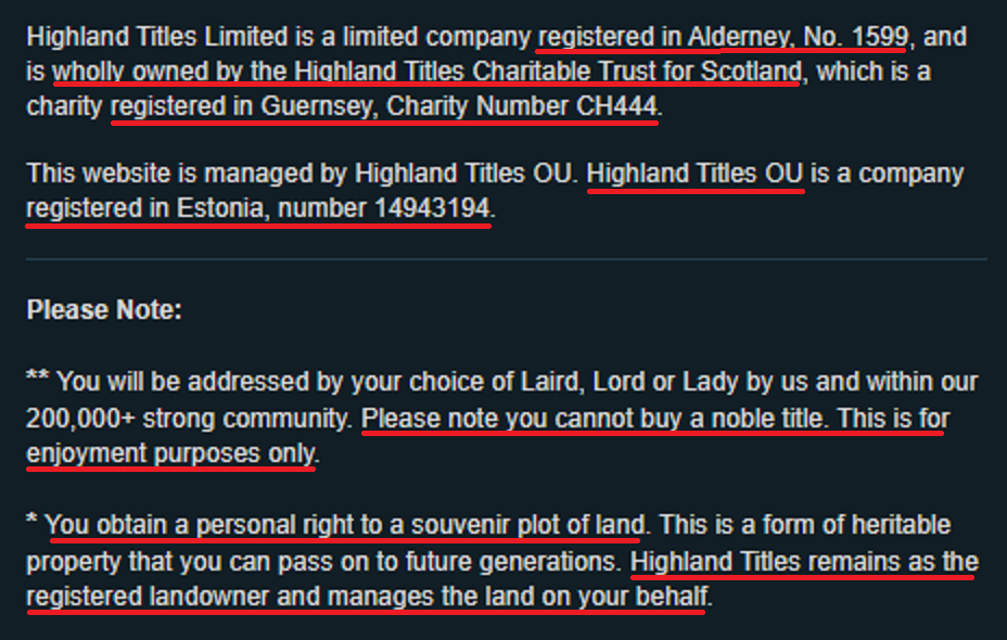 highland titles company information and disclaimer