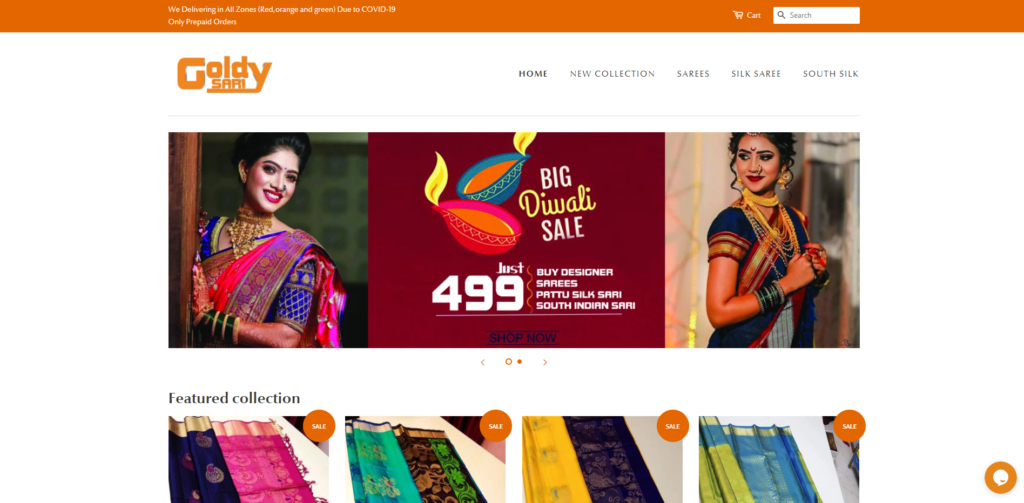 goldysari scam home page
