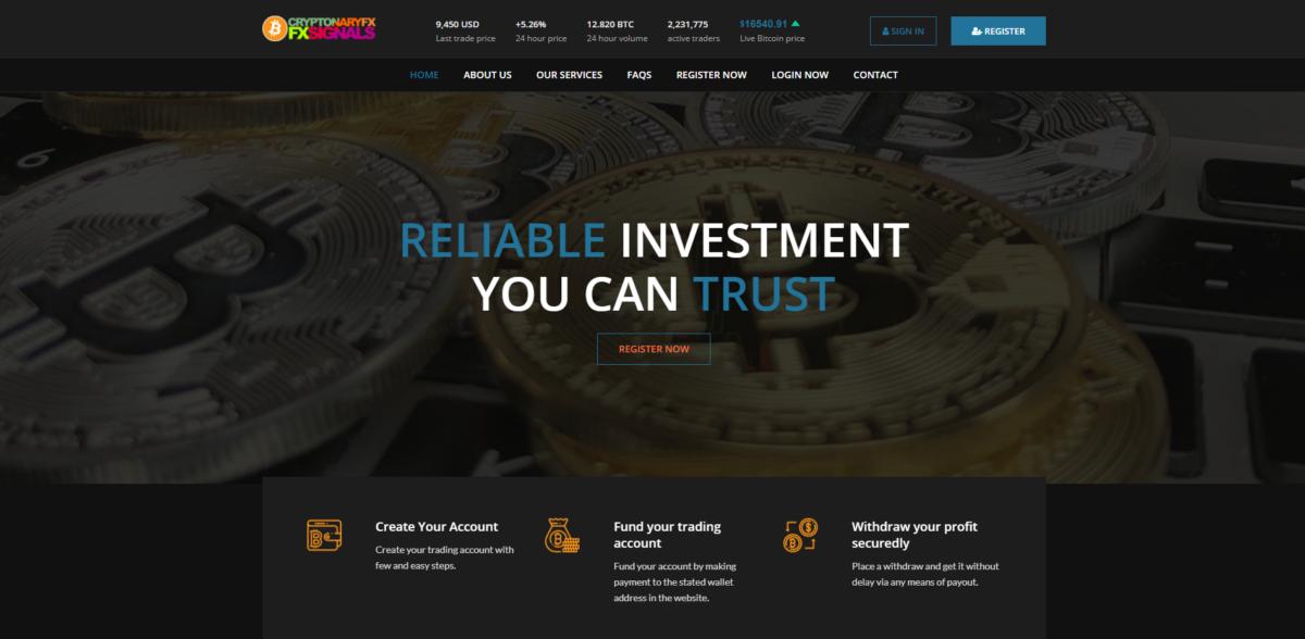 cryptonaryfxsignals scam home page