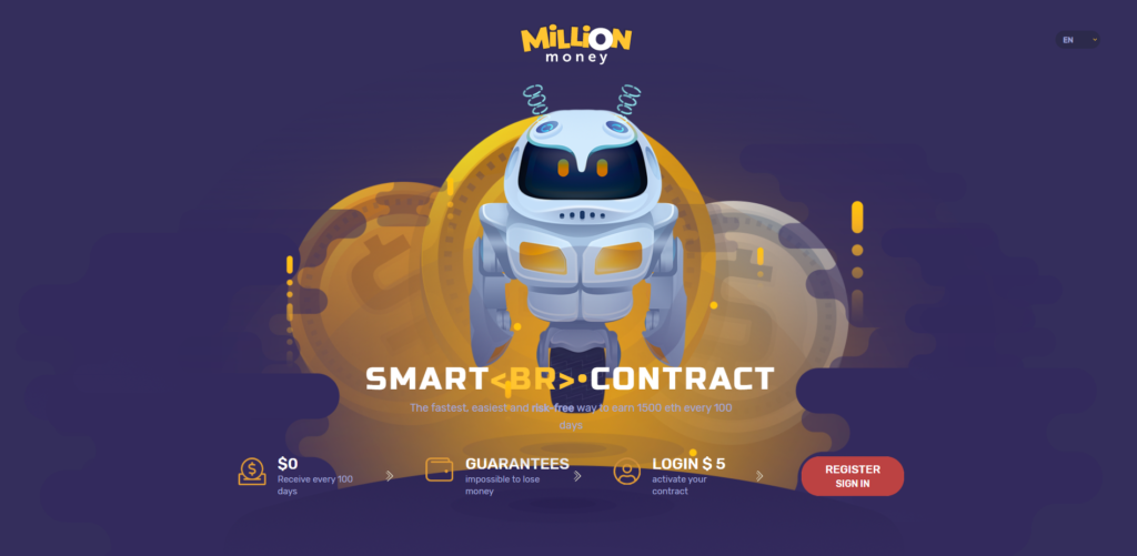 million.money scam home page