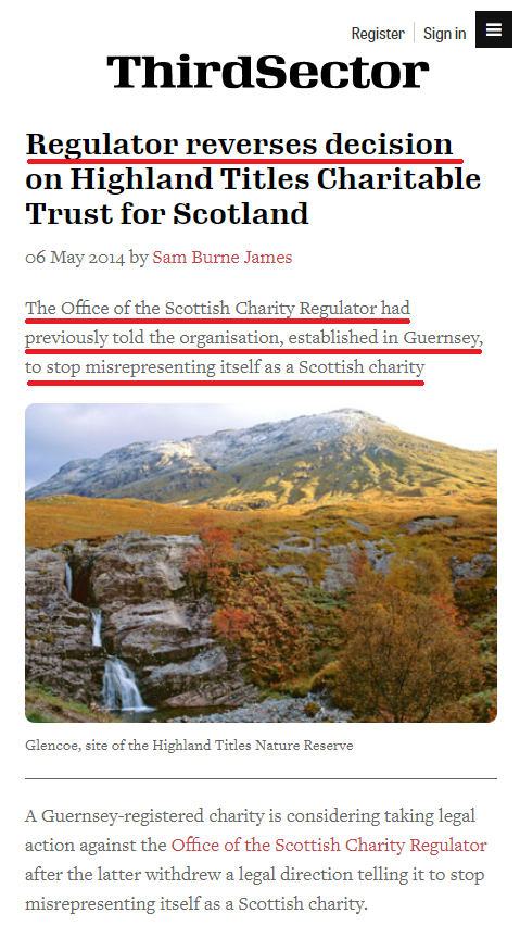 highland titles charity controversy