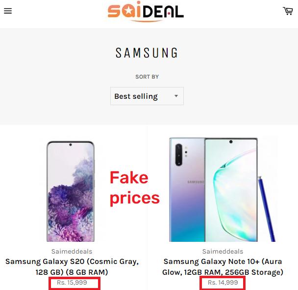 saideals scam samsung fake price