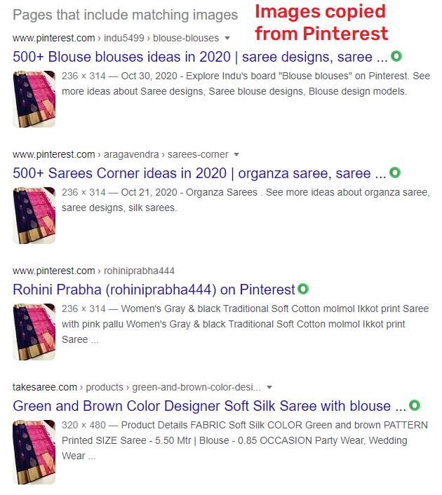goldysari scam images copied from pinterest