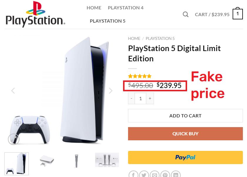 playsporegame fake ps5 price