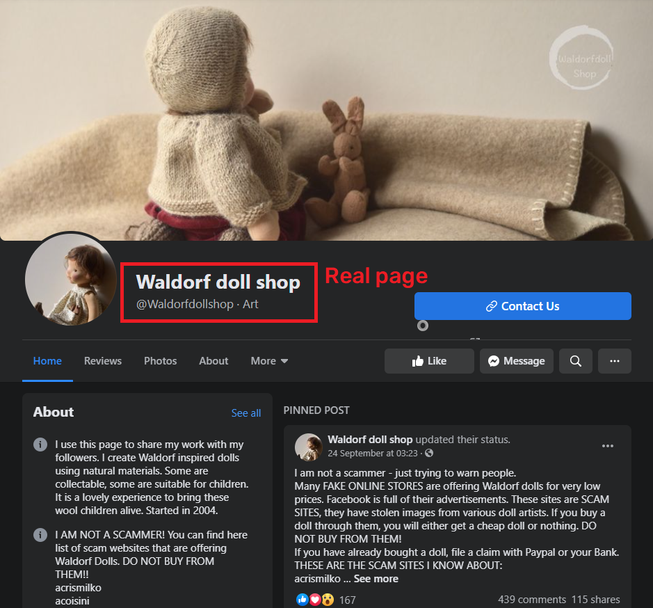 waldorf doll shop facebook page