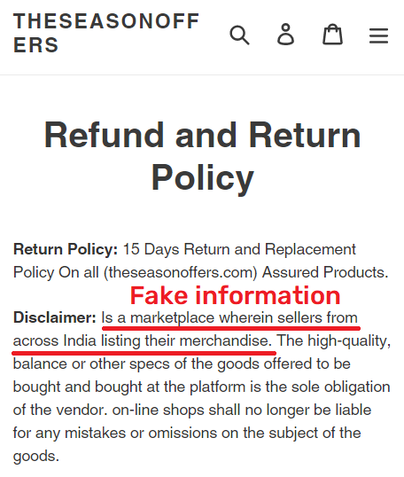 theseasonoffers scam fake refund policy