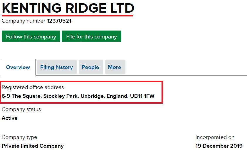 kenting ltd regisration middlge bridge scam network