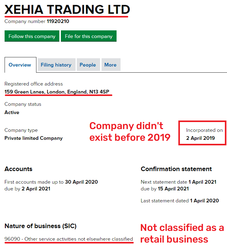 xehia trading ltd scam uk registration 1