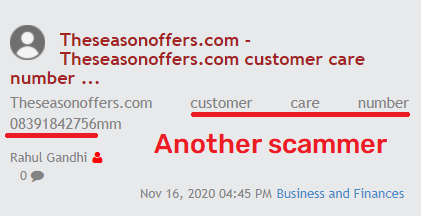 theseasonoffers scam fake customer care 1