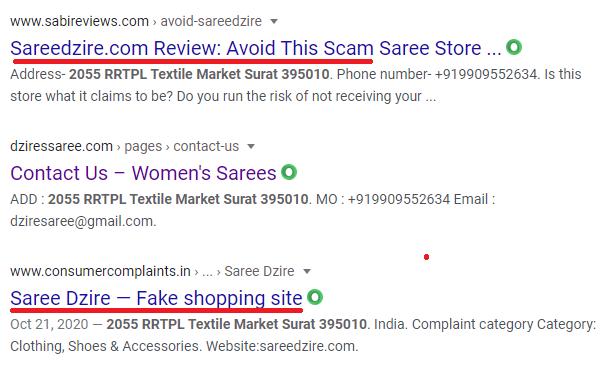 dzires saree scam fake address