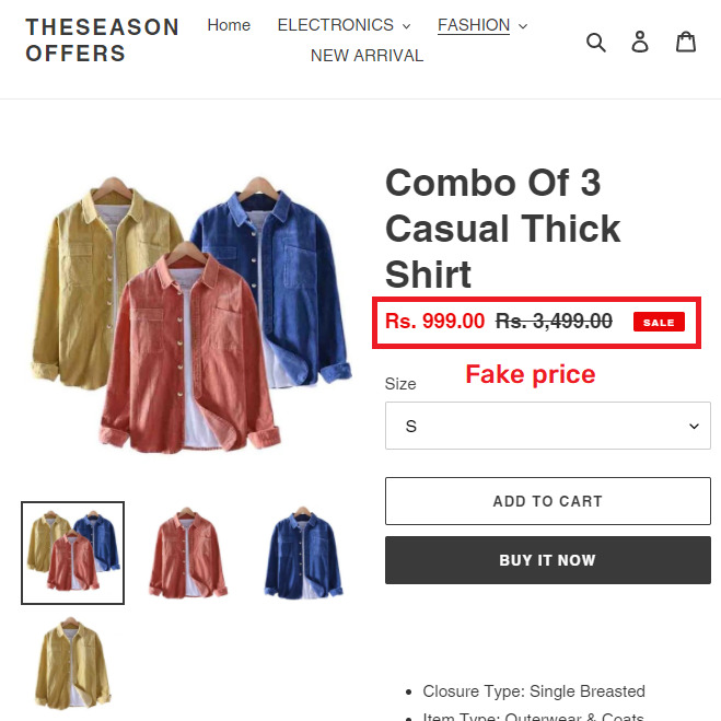 theseasonoffers scam cotton shirt fake price