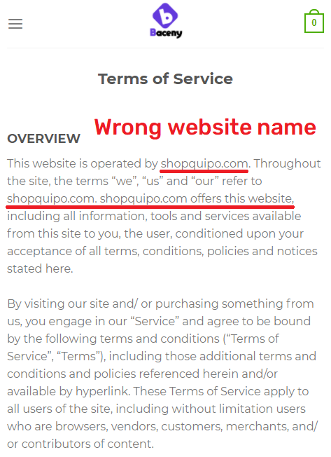 baceny scam wrong website name shopquipo