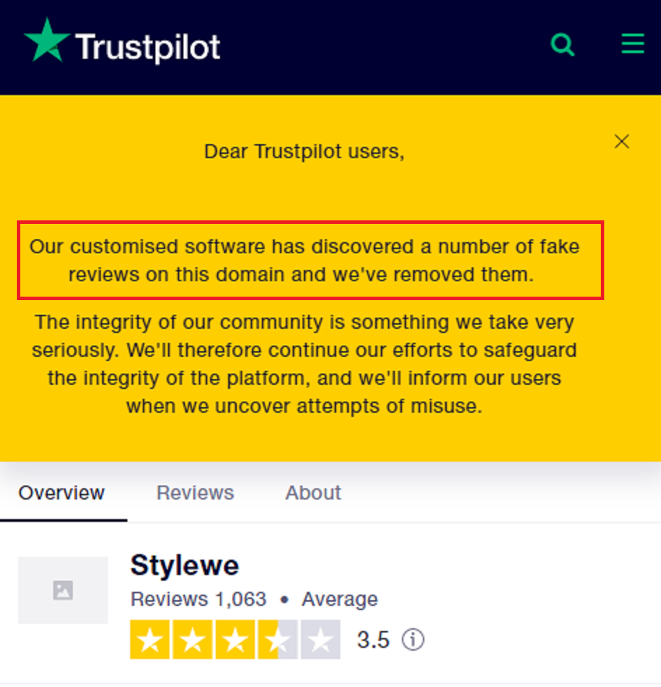stylewe chicv scam trustpilot fake reviews
