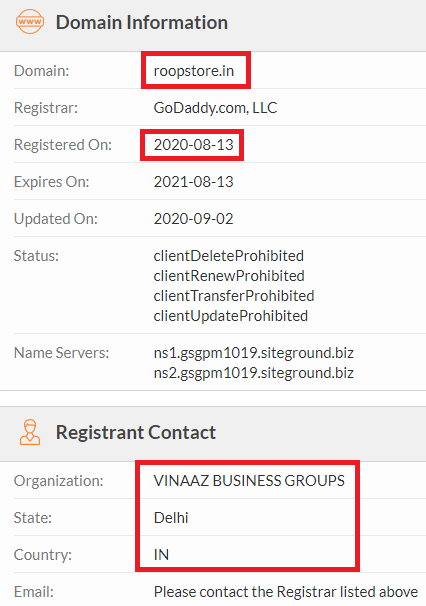 roopstore scam whois