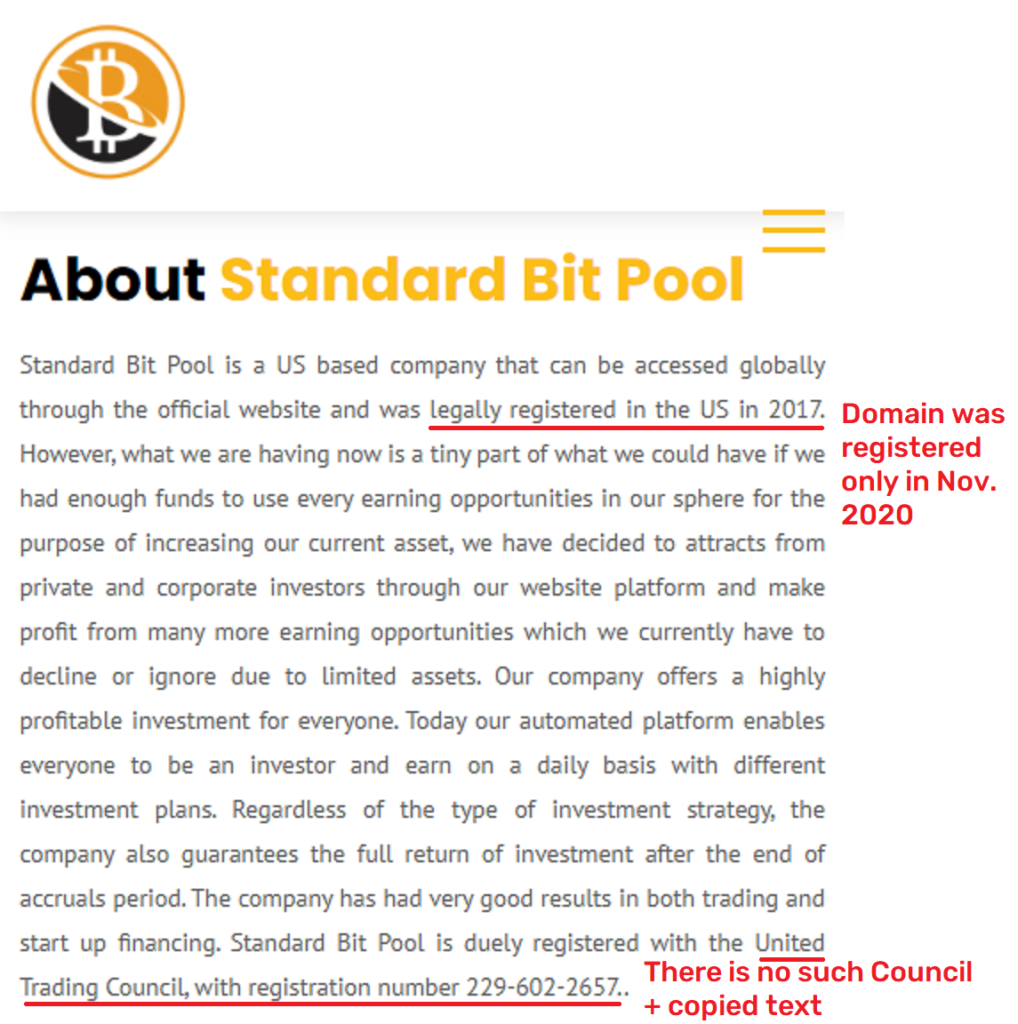 standardbitpool fake about information