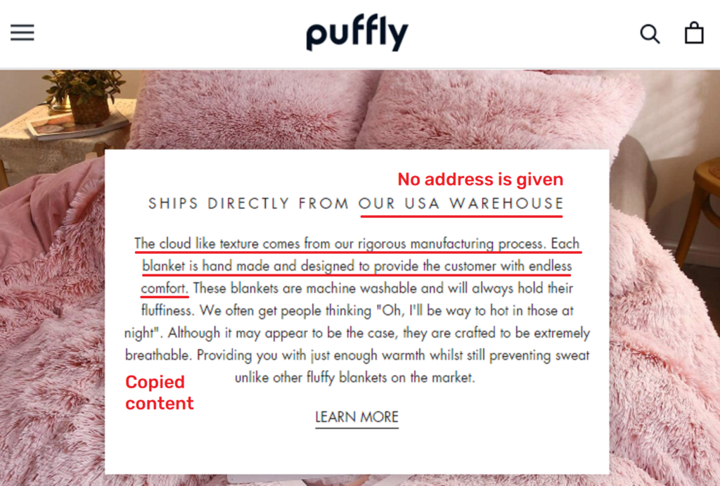 puffly blankets about copied content 1