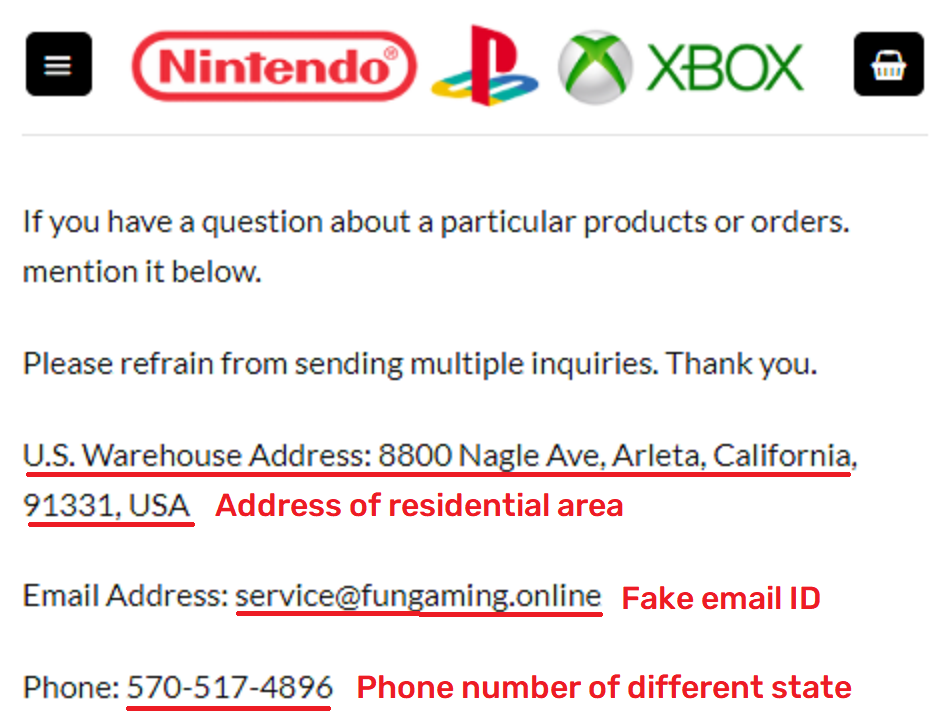 FunGamesDay scam fake contact details