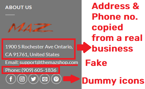 themazshopscam fake contact details