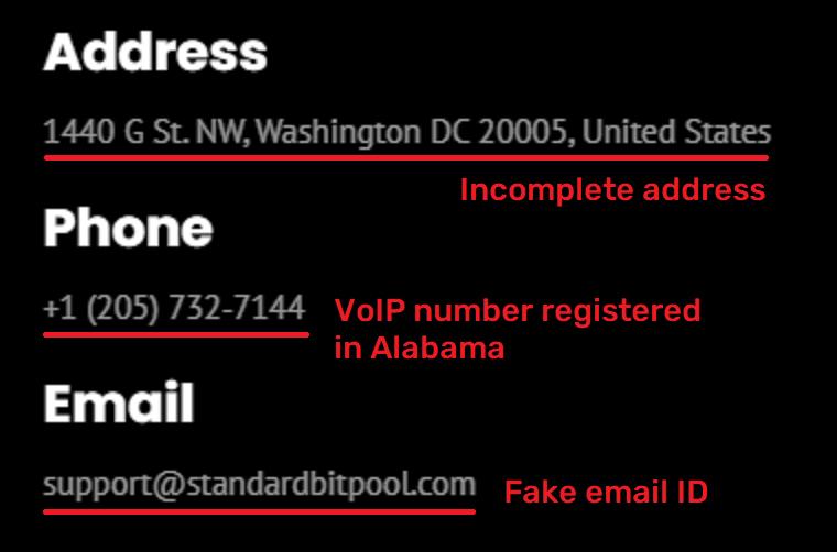 standardbitpool fake contact information
