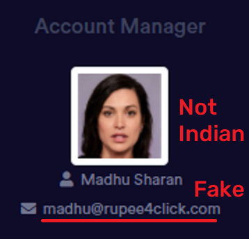 rupee4click scam madhu sharan fake account manager