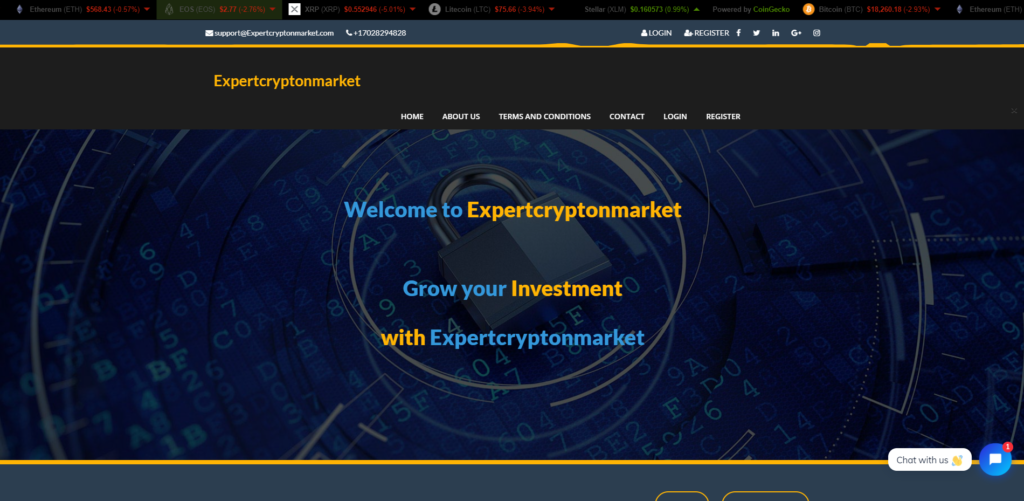 ExpertCryptonMarket scam home page