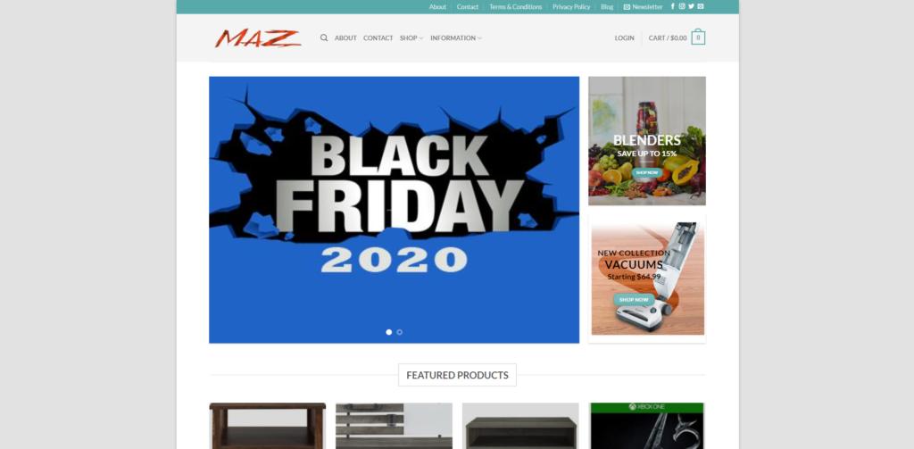 themazstore scam home page