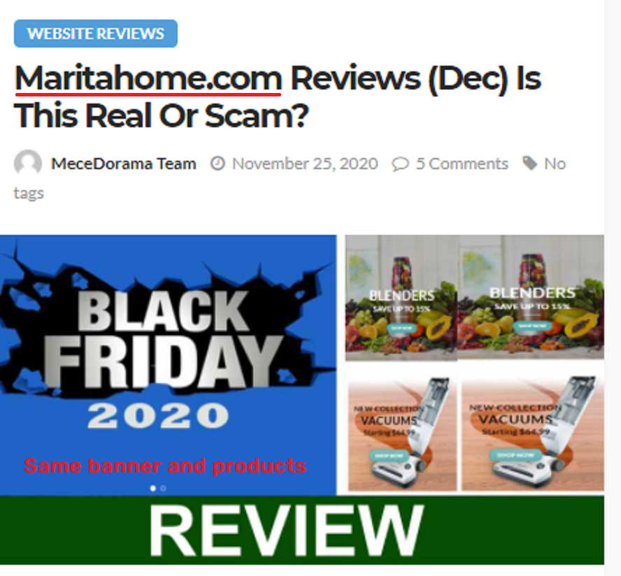 maritahome scam black friday banner