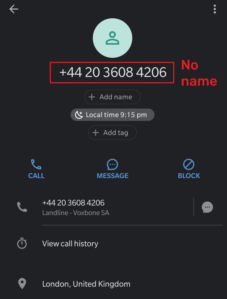 fake phone number
