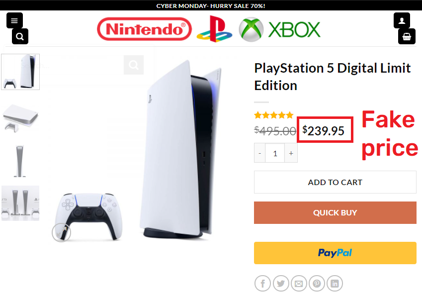 FunGamesDay scam ps5 fake price
