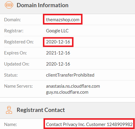 themazshop scam whois