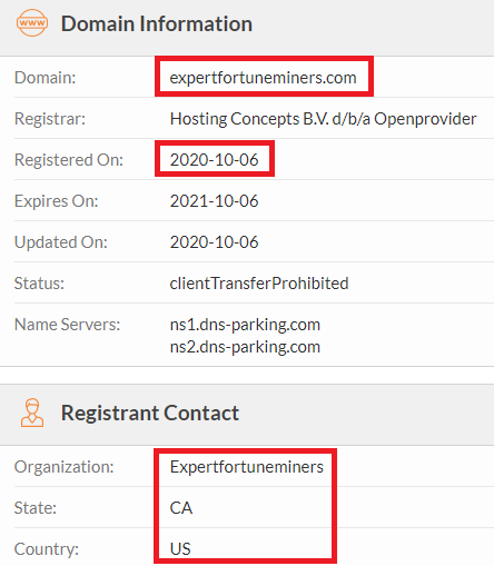 Expert Fortune Miners expertfortuneminers scam whois