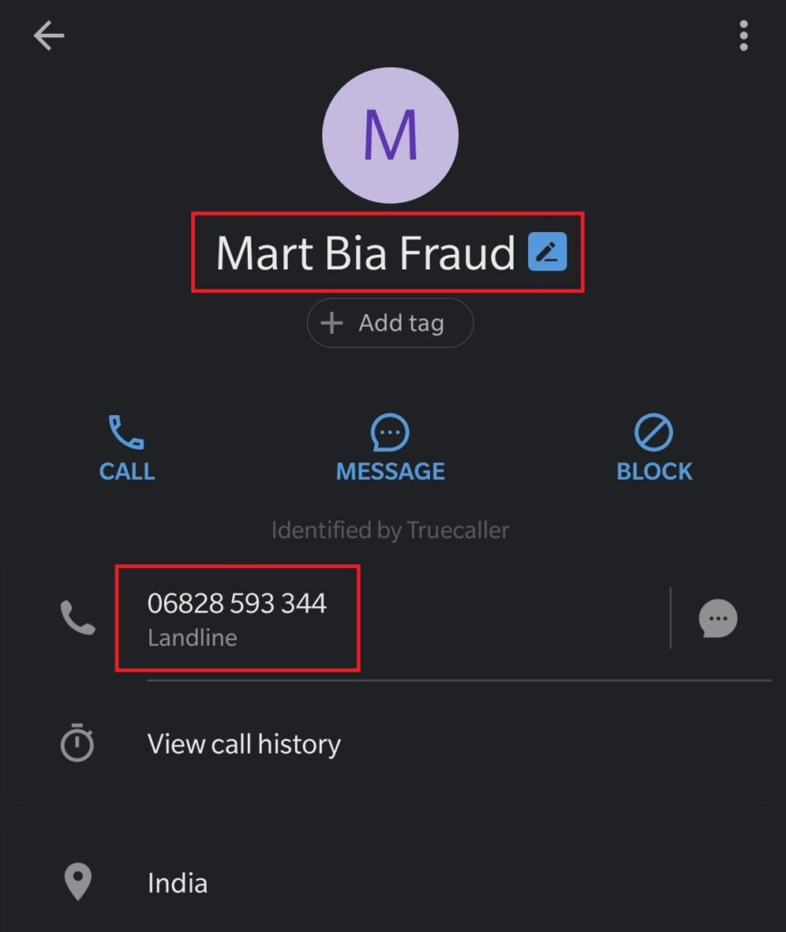 shopbia scam fake phone number 1