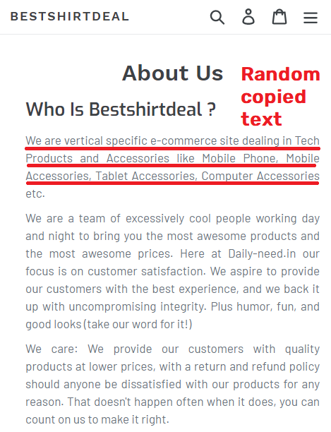 BestShirtDeal scam about us copied text